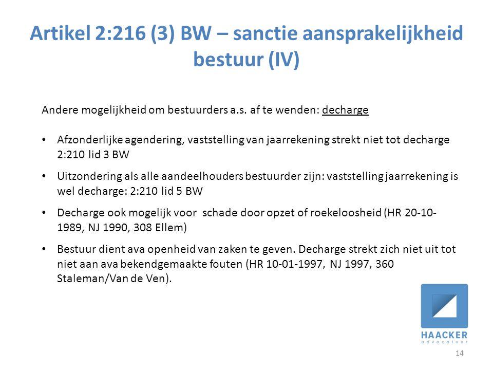 Artikel 2:216 (3) BW – sanctie aansprakelijkheid bestuur (IV)