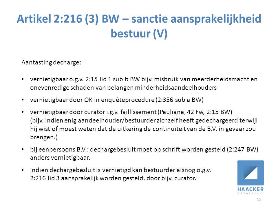 Artikel 2:216 (3) BW – sanctie aansprakelijkheid bestuur (V)