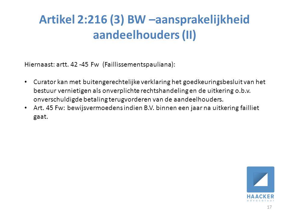 Artikel 2:216 (3) BW –aansprakelijkheid aandeelhouders (II)