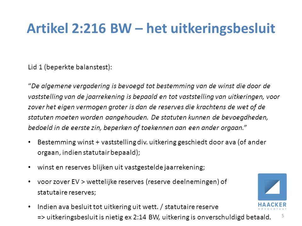 Artikel 2:216 BW – het uitkeringsbesluit