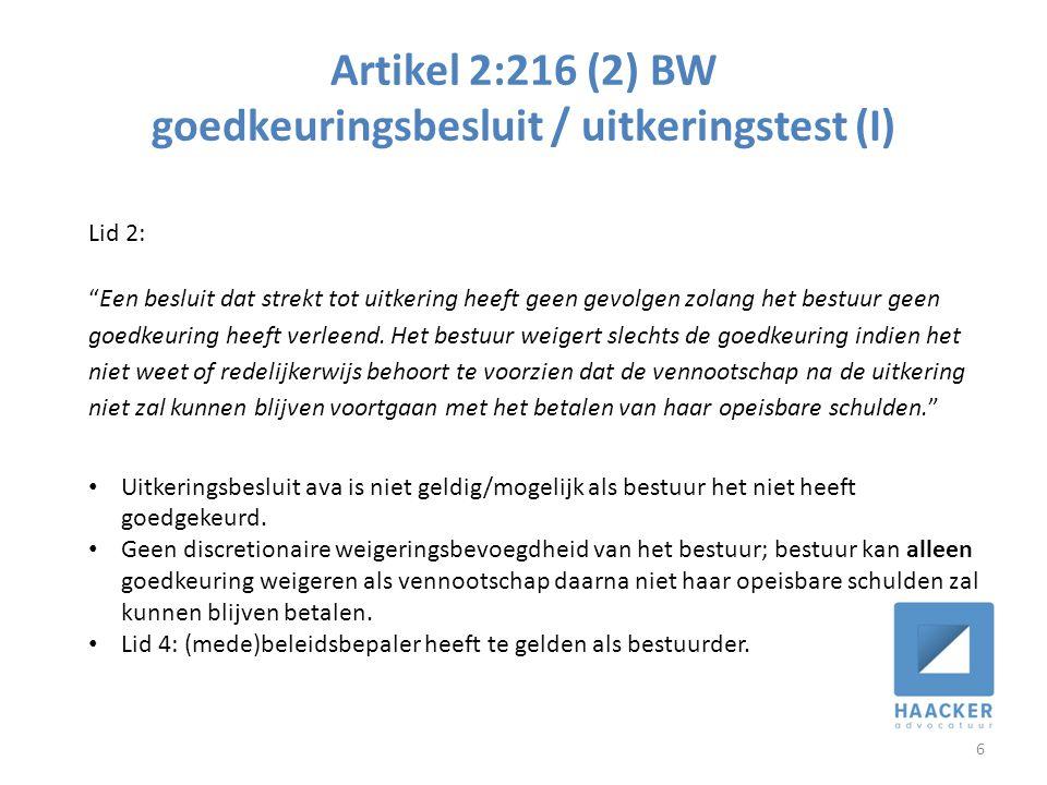 Artikel 2:216 (2) BW goedkeuringsbesluit / uitkeringstest (I)