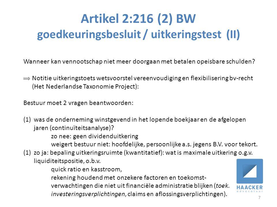 Artikel 2:216 (2) BW goedkeuringsbesluit / uitkeringstest (II)