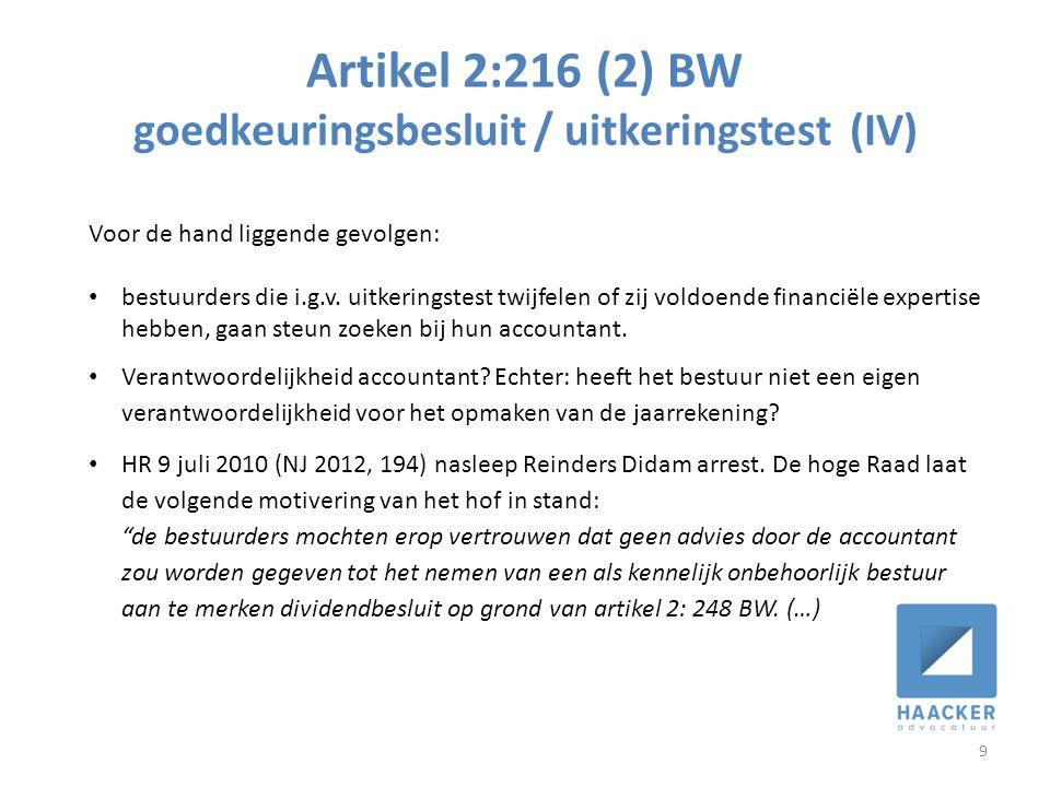 Artikel 2:216 (2) BW goedkeuringsbesluit / uitkeringstest (IV)