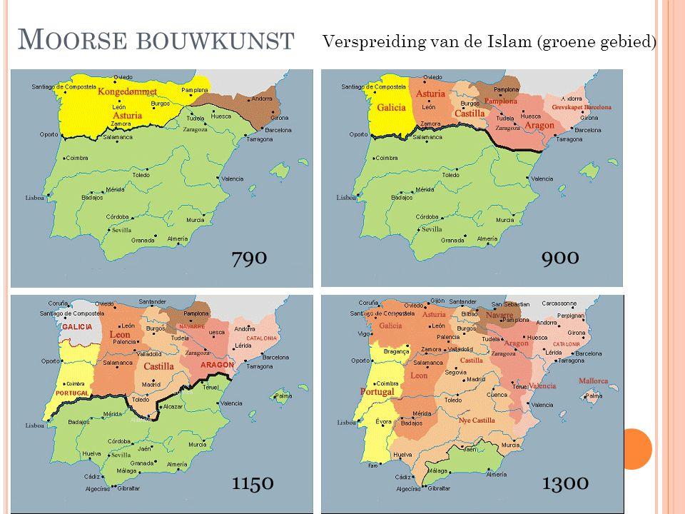 Moorse bouwkunst Verspreiding van de Islam (groene gebied)