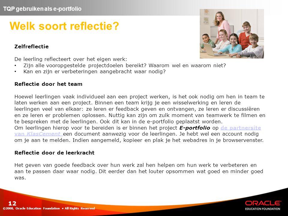 Welk soort reflectie TQP gebruiken als e-portfolio Zelfreflectie