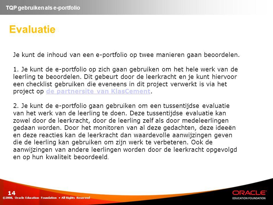 TQP gebruiken als e-portfolio