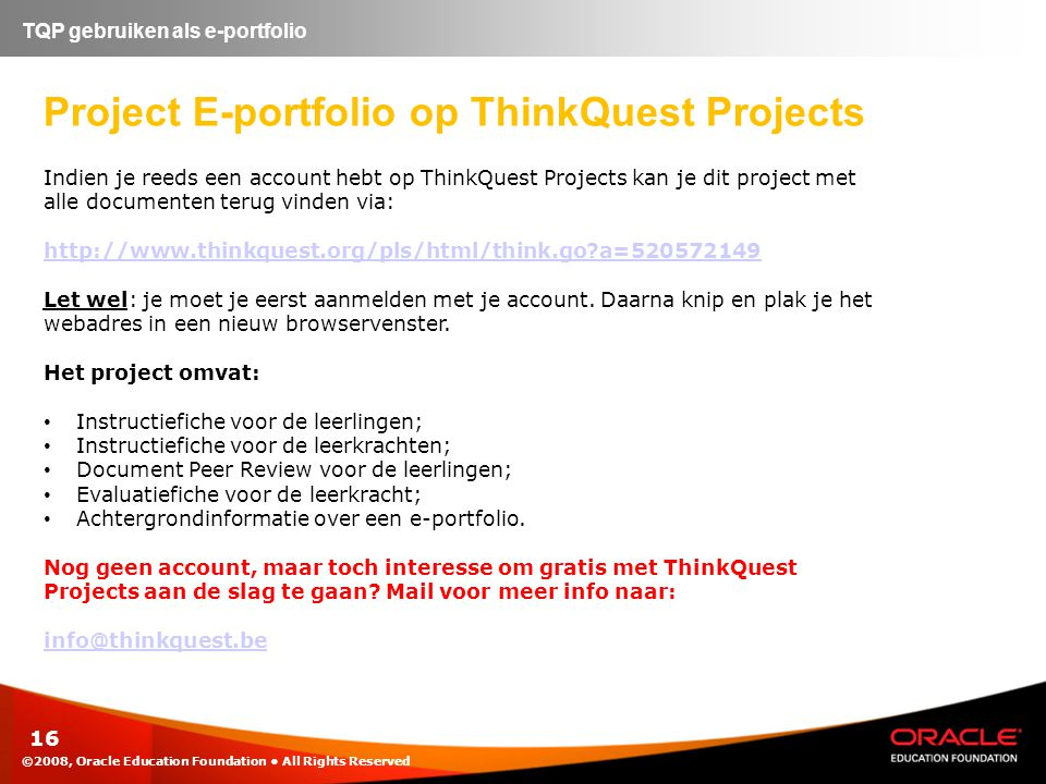 Project E-portfolio op ThinkQuest Projects