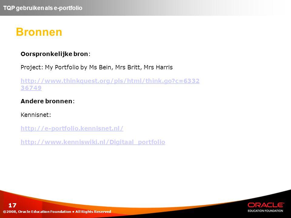 Bronnen TQP gebruiken als e-portfolio Oorspronkelijke bron: