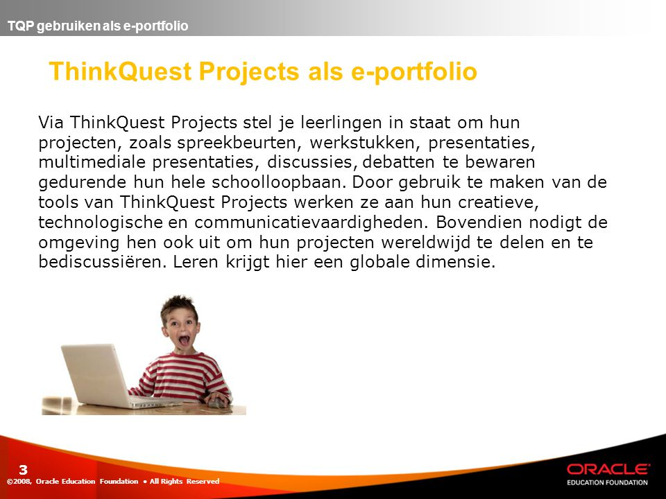 ThinkQuest Projects als e-portfolio