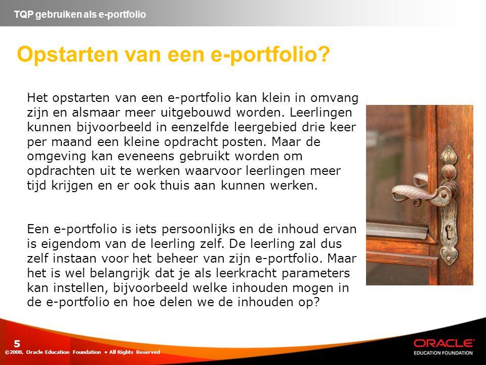 Opstarten van een e-portfolio