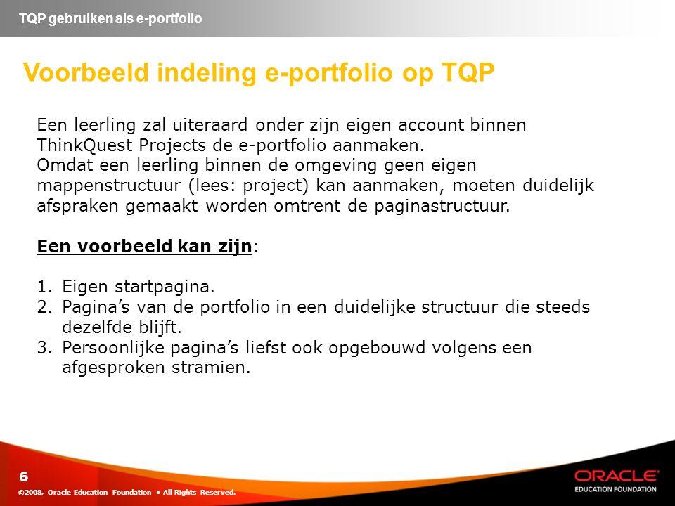 Voorbeeld indeling e-portfolio op TQP