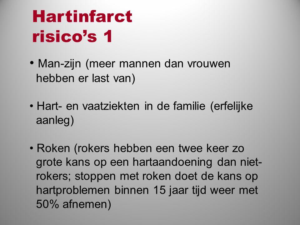 Hartinfarct risico's 1 Man-zijn (meer mannen dan vrouwen hebben er last van) Hart- en vaatziekten in de familie (erfelijke aanleg)