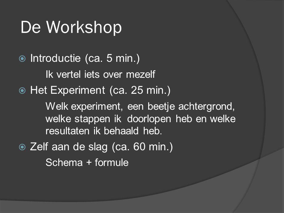 De Workshop Introductie (ca. 5 min.) Ik vertel iets over mezelf