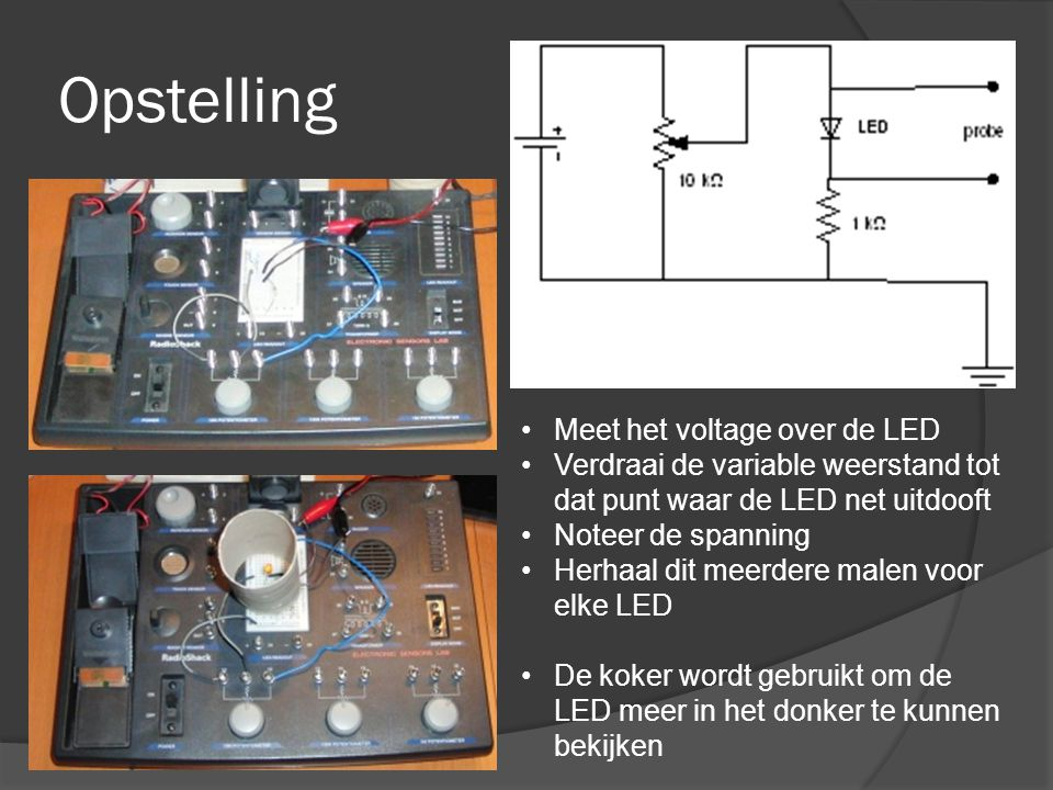 Opstelling Meet het voltage over de LED