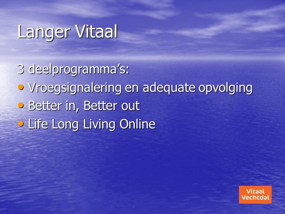 Langer Vitaal 3 deelprogramma's: