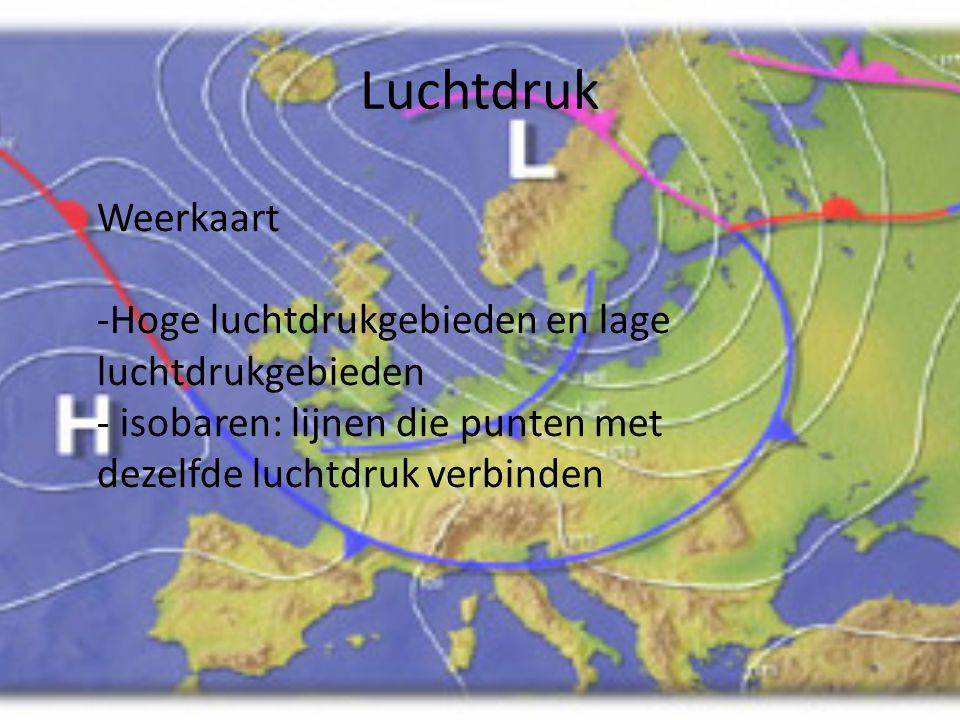 Luchtdruk Weerkaart Hoge luchtdrukgebieden en lage luchtdrukgebieden