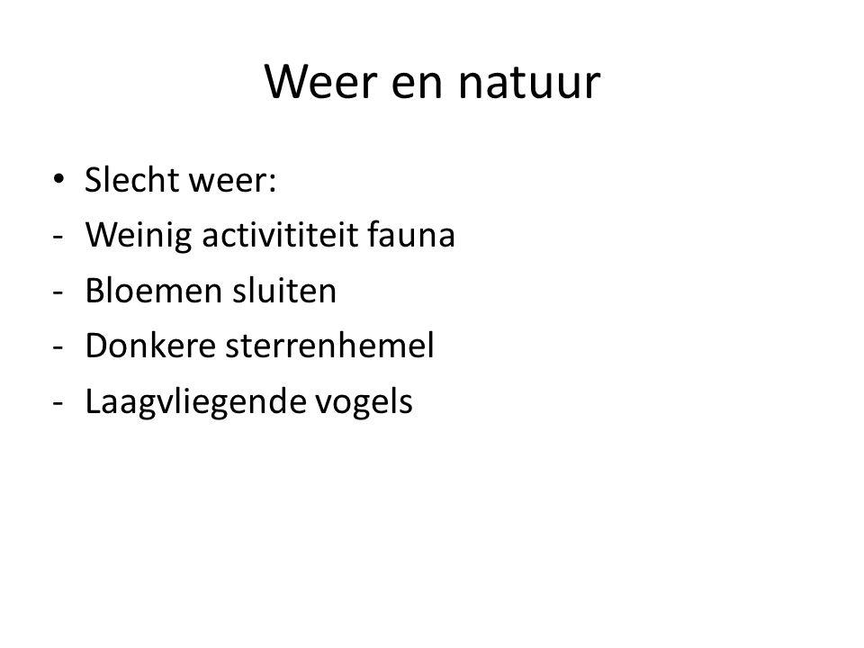Weer en natuur Slecht weer: Weinig activititeit fauna Bloemen sluiten