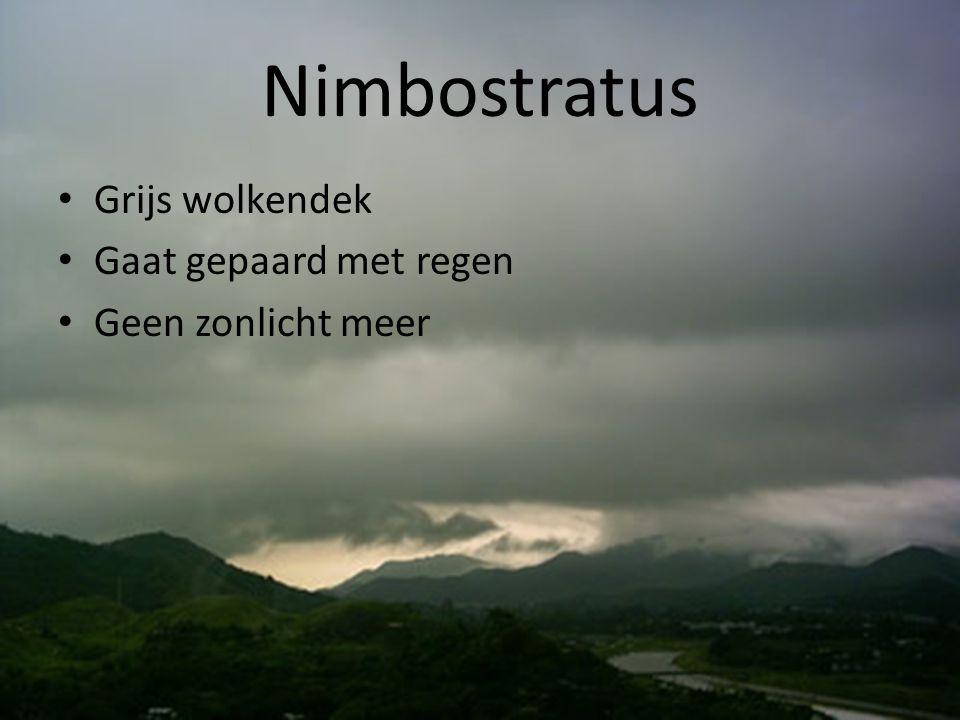 Nimbostratus Grijs wolkendek Gaat gepaard met regen Geen zonlicht meer
