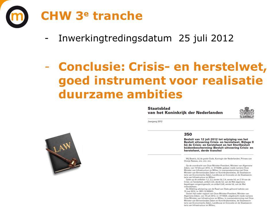 CHW 3e tranche Inwerkingtredingsdatum 25 juli 2012.