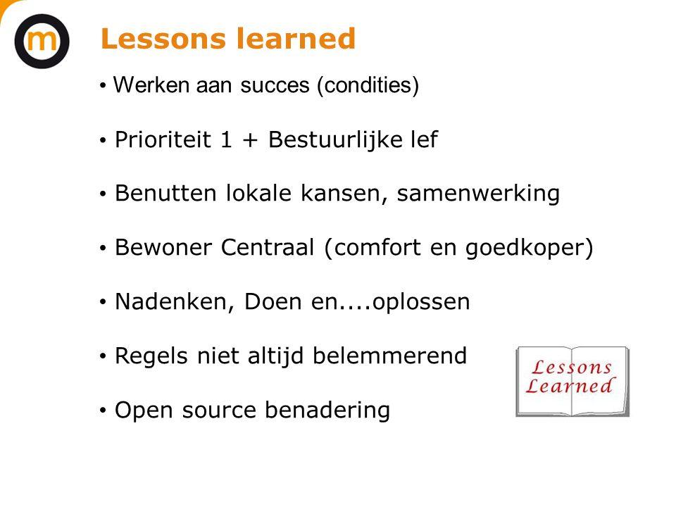 Lessons learned Werken aan succes (condities)