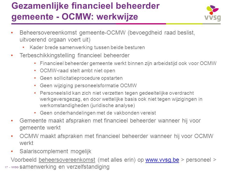 Gezamenlijke financieel beheerder gemeente - OCMW: werkwijze