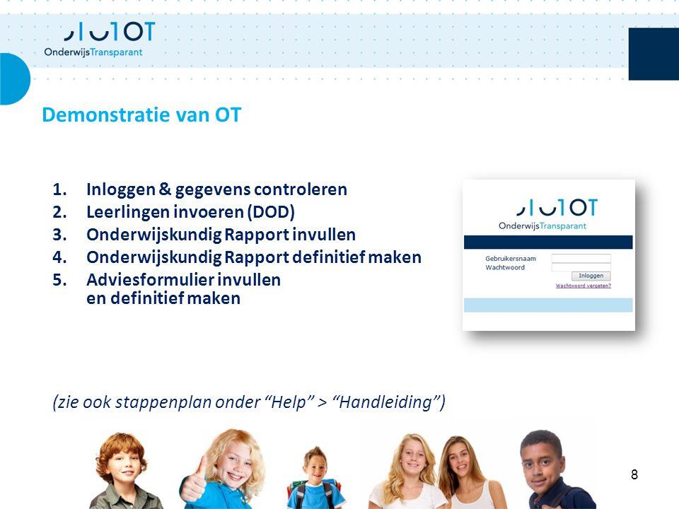 Demonstratie van OT Inloggen & gegevens controleren