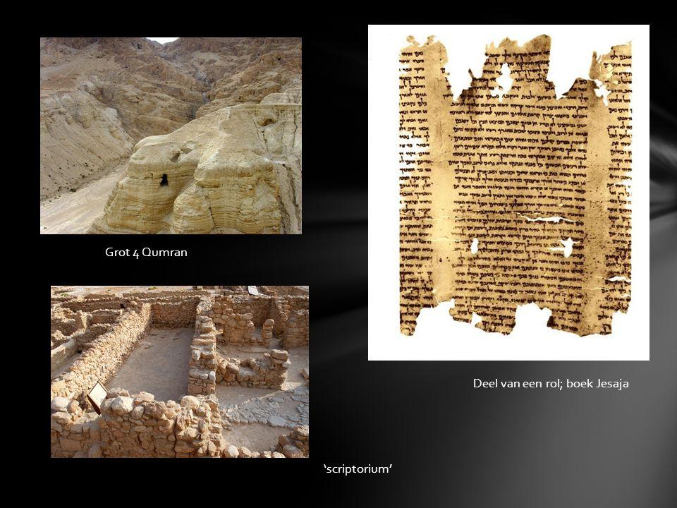 Grot 4 Qumran Deel van een rol; boek Jesaja 'scriptorium'