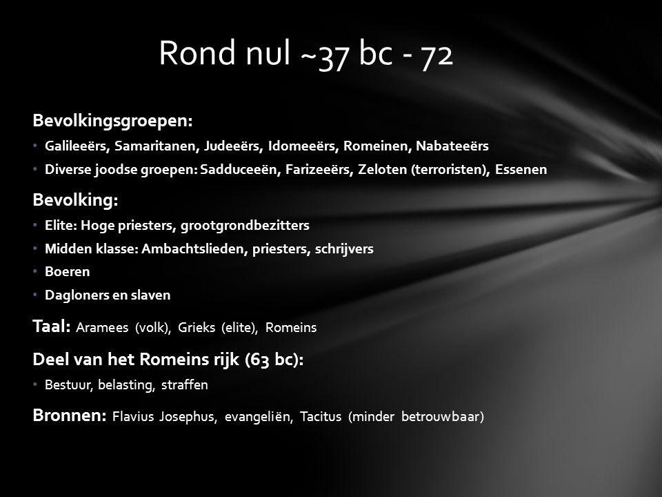 Rond nul ~37 bc - 72 Bevolkingsgroepen: Bevolking: