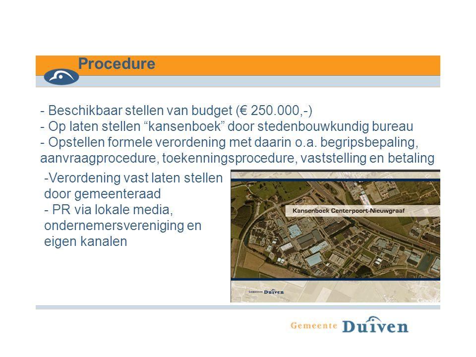 Procedure - Beschikbaar stellen van budget (€ 250.000,-)