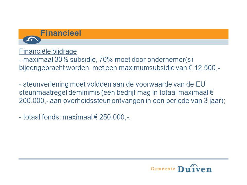Financieel Financiële bijdrage