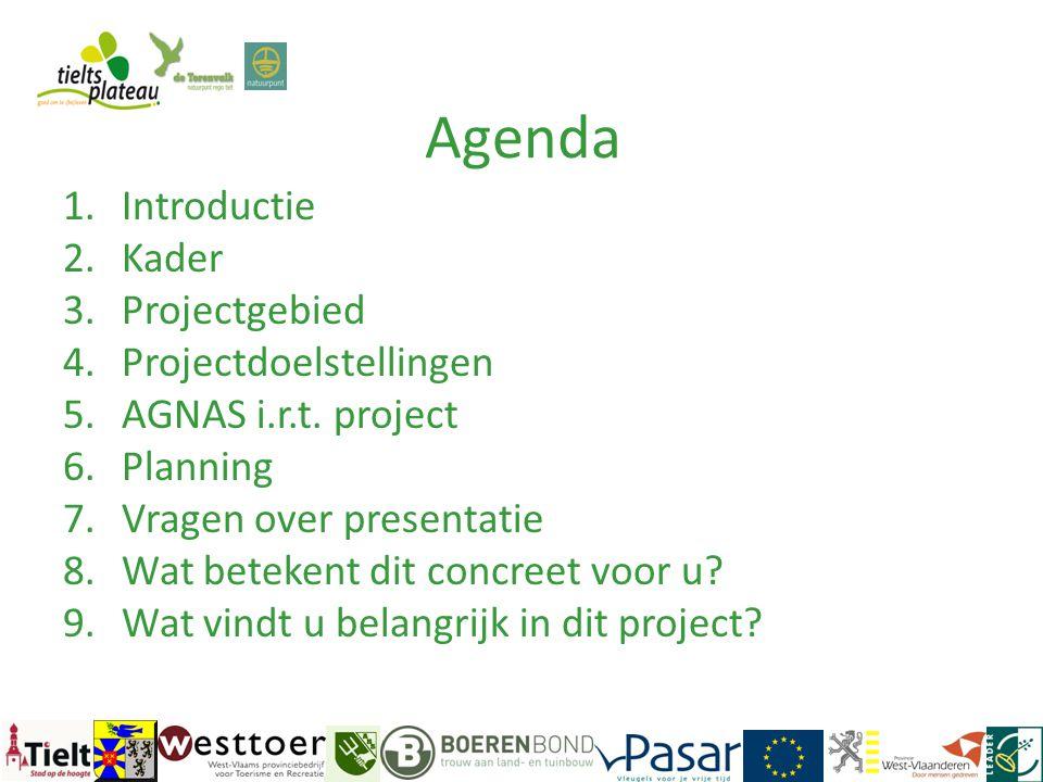 Agenda Introductie Kader Projectgebied Projectdoelstellingen