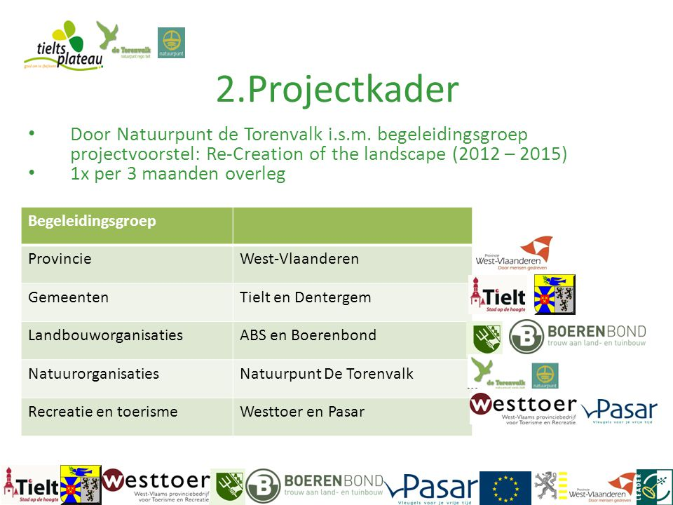 2.Projectkader Door Natuurpunt de Torenvalk i.s.m. begeleidingsgroep projectvoorstel: Re-Creation of the landscape (2012 – 2015)