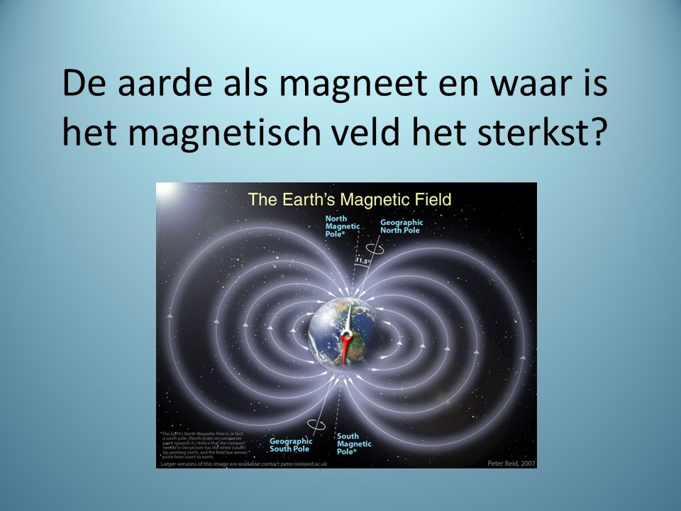 De aarde als magneet en waar is het magnetisch veld het sterkst