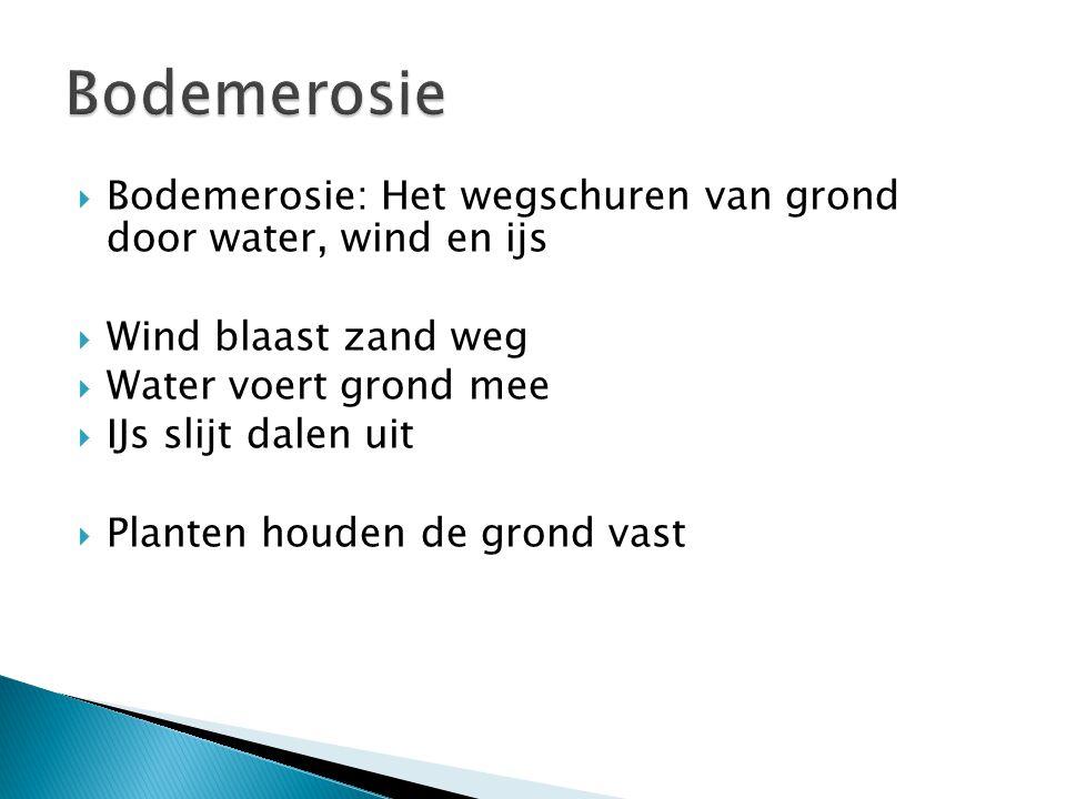 Bodemerosie Bodemerosie: Het wegschuren van grond door water, wind en ijs. Wind blaast zand weg. Water voert grond mee.
