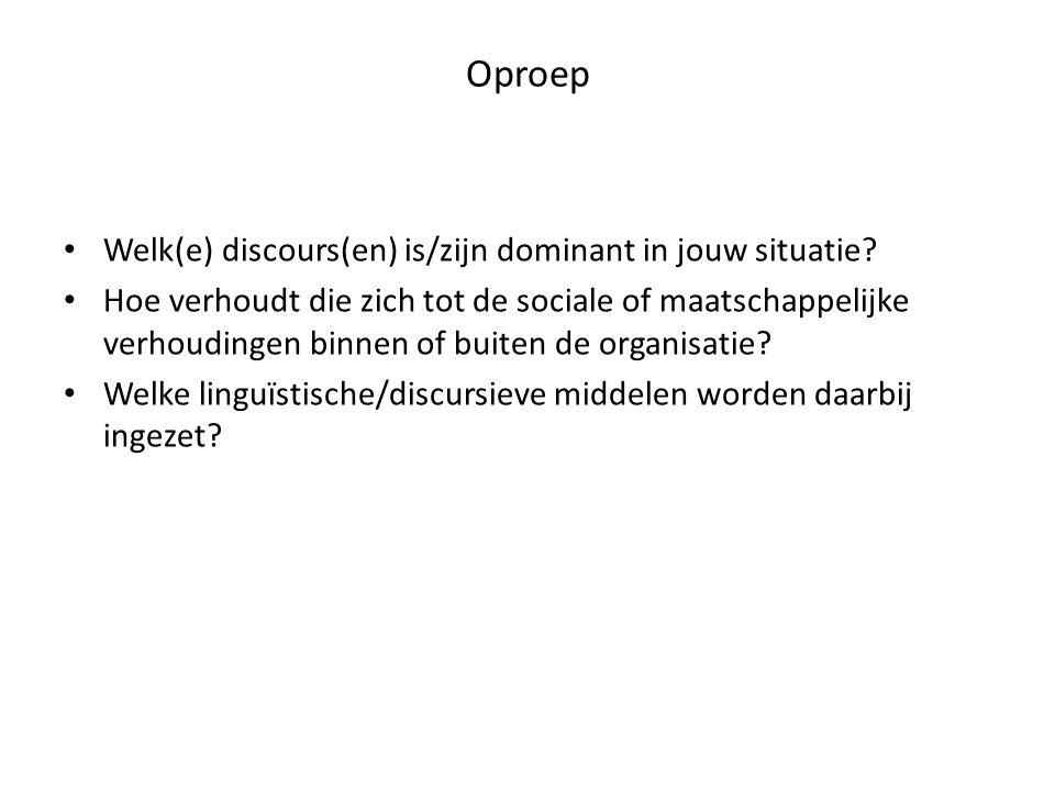 Oproep Welk(e) discours(en) is/zijn dominant in jouw situatie