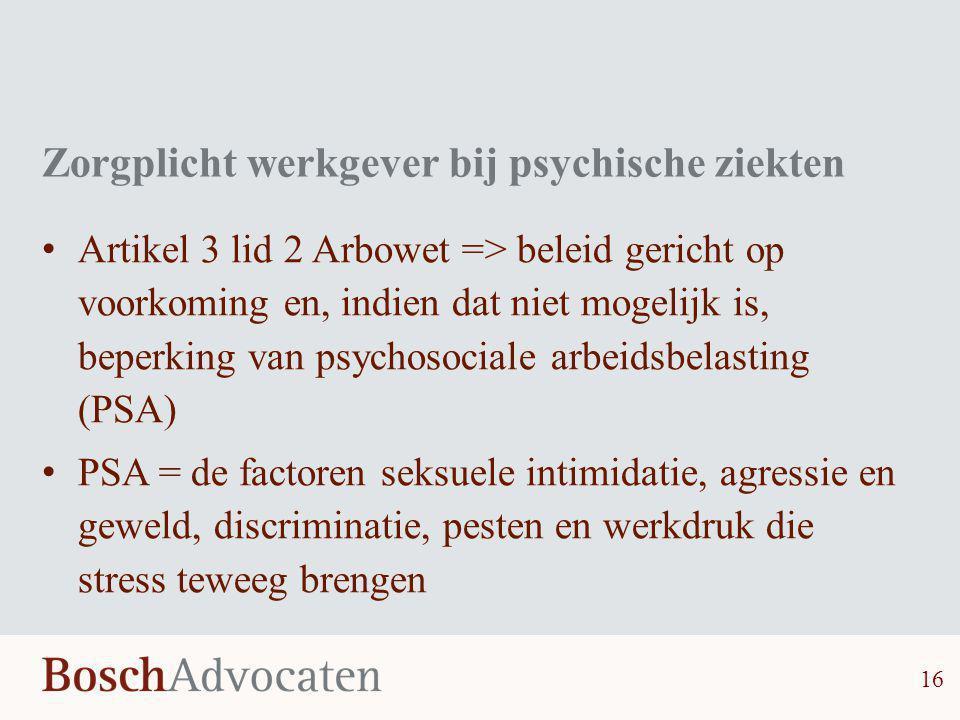 Zorgplicht werkgever bij psychische ziekten
