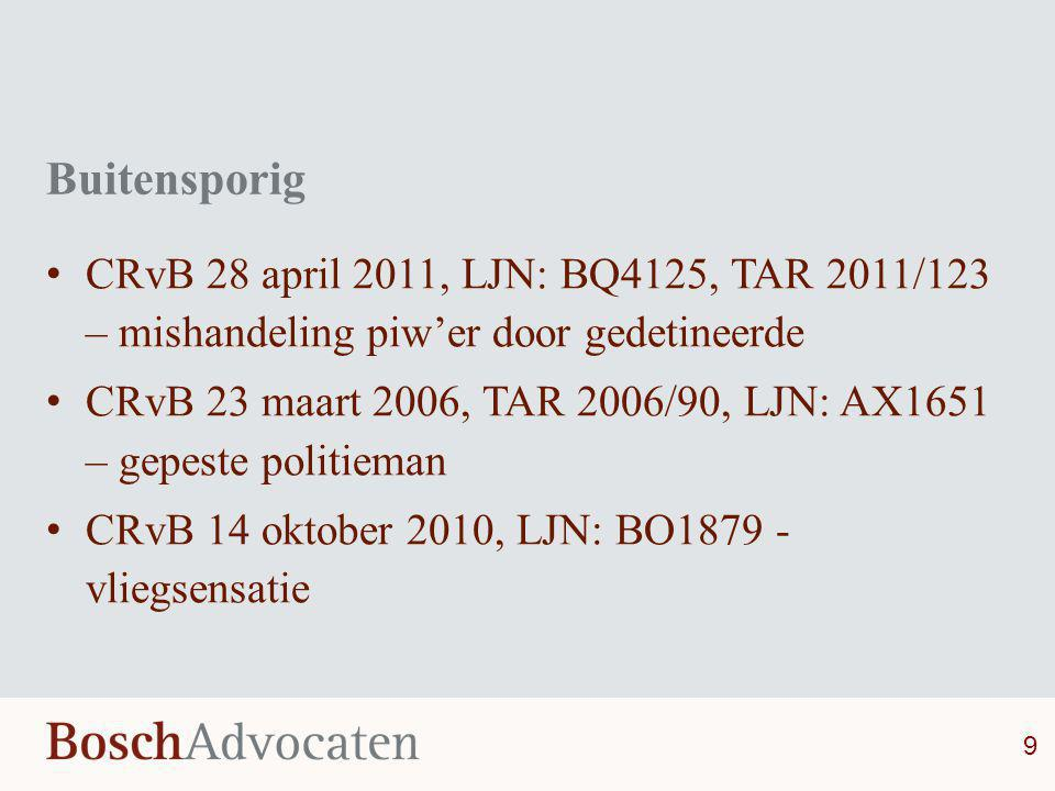 Buitensporig CRvB 28 april 2011, LJN: BQ4125, TAR 2011/123 – mishandeling piw'er door gedetineerde.