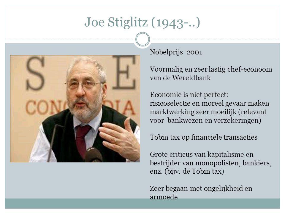 Joe Stiglitz (1943-..) Nobelprijs 2001