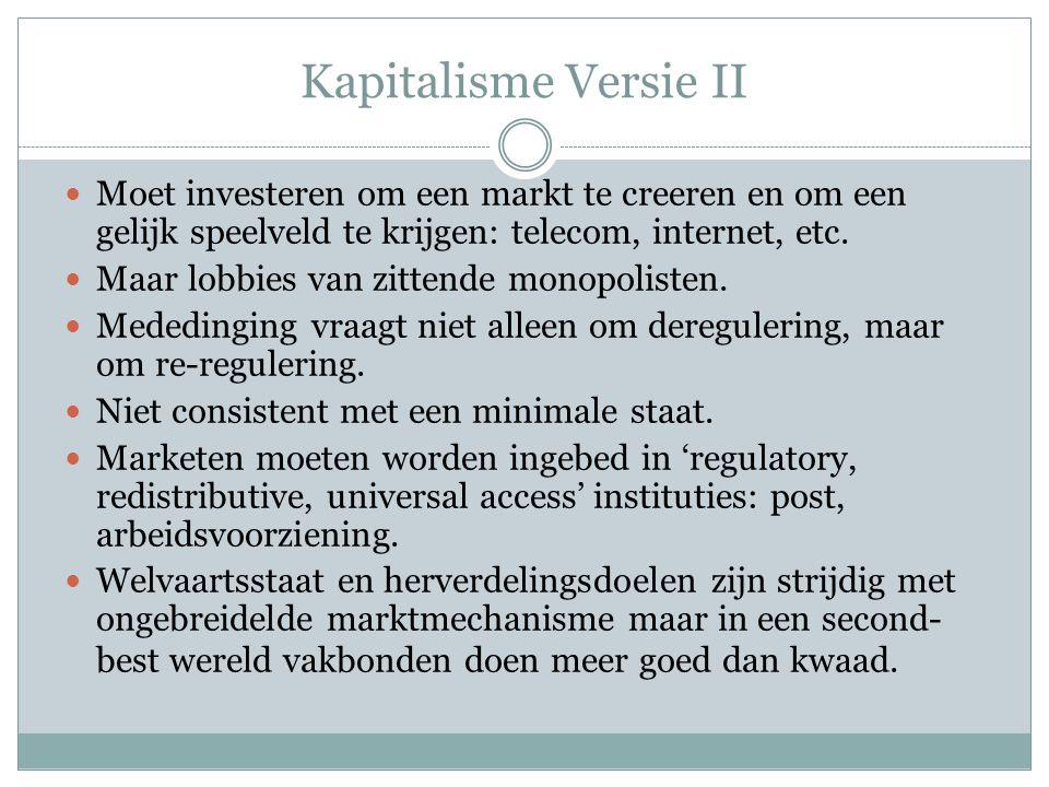 Kapitalisme Versie II Moet investeren om een markt te creeren en om een gelijk speelveld te krijgen: telecom, internet, etc.