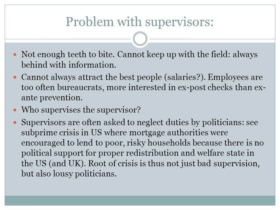 Problem with supervisors: