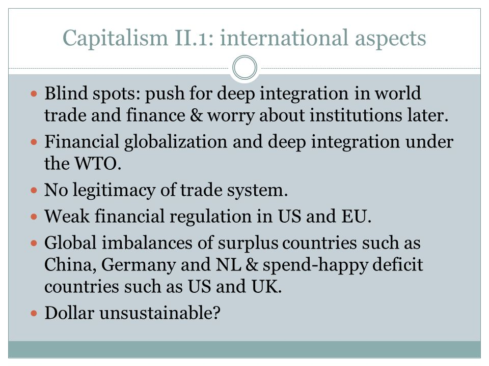 Capitalism II.1: international aspects