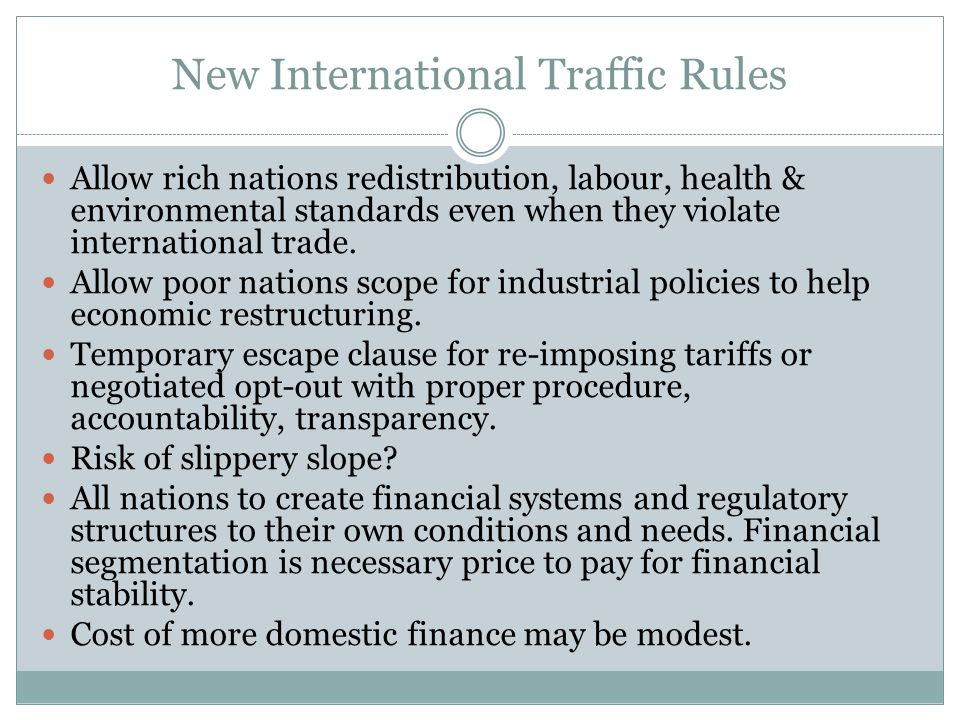 New International Traffic Rules