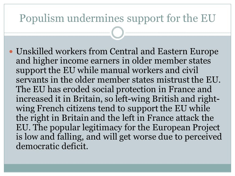 Populism undermines support for the EU