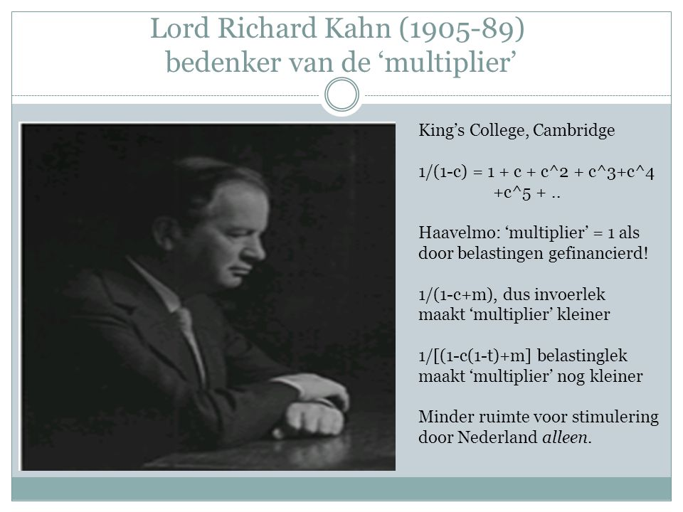 Lord Richard Kahn (1905-89) bedenker van de 'multiplier'