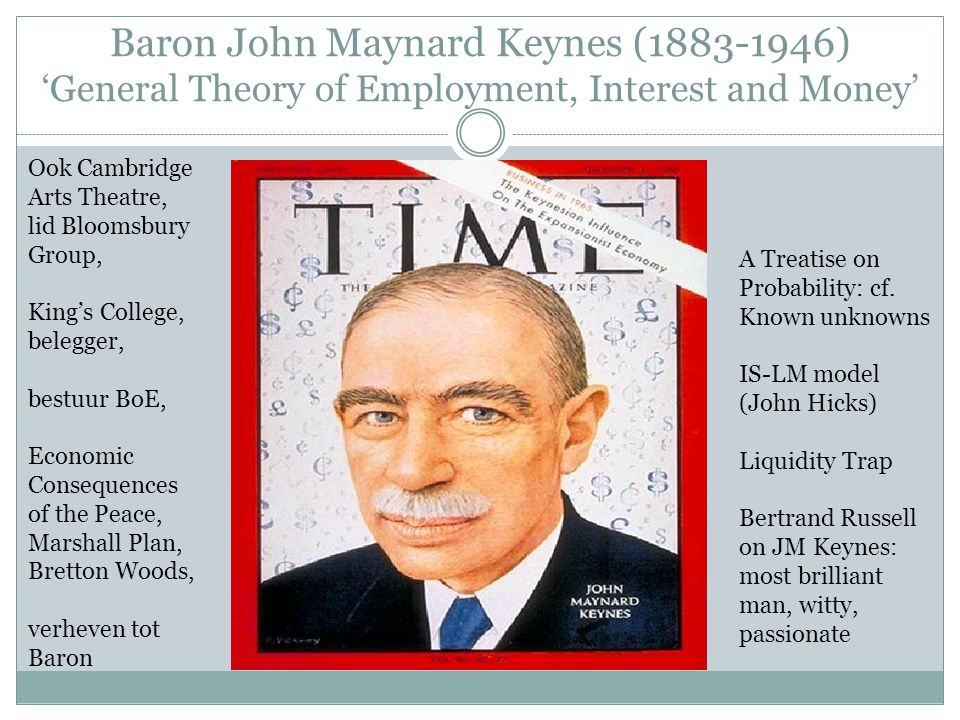 Baron John Maynard Keynes ( ) 'General Theory of Employment, Interest and Money'