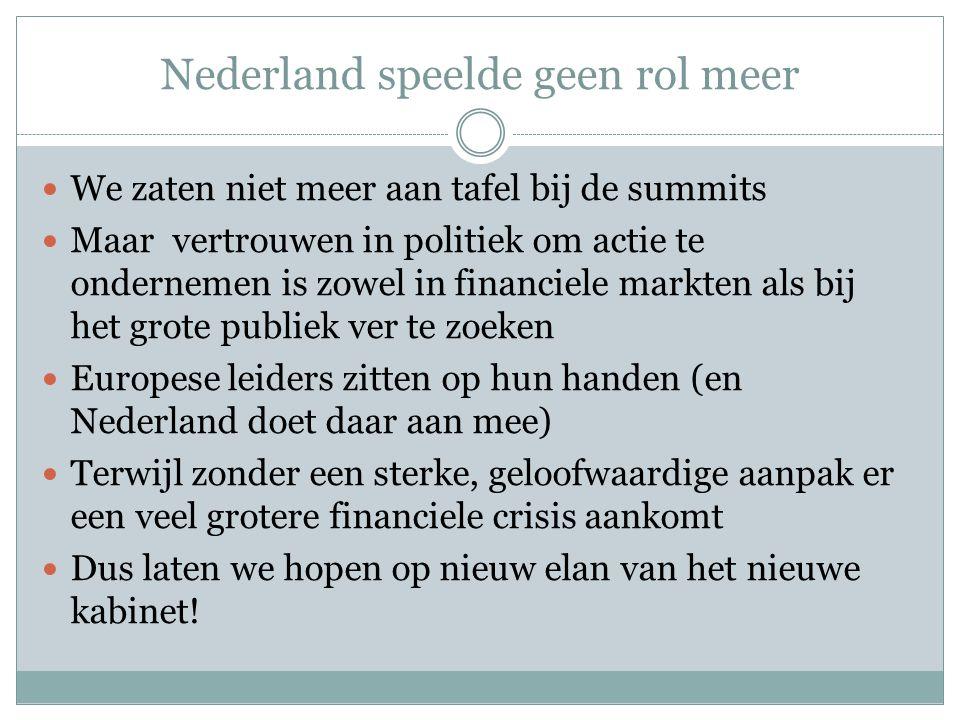 Nederland speelde geen rol meer