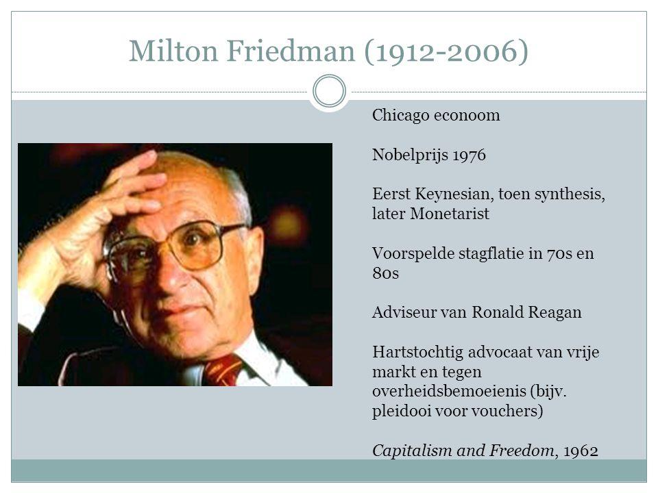 Milton Friedman (1912-2006) Chicago econoom Nobelprijs 1976