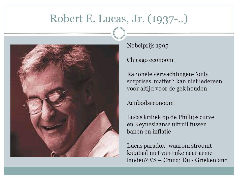 Robert E. Lucas, Jr. (1937-..) Nobelprijs 1995 Chicago econoom