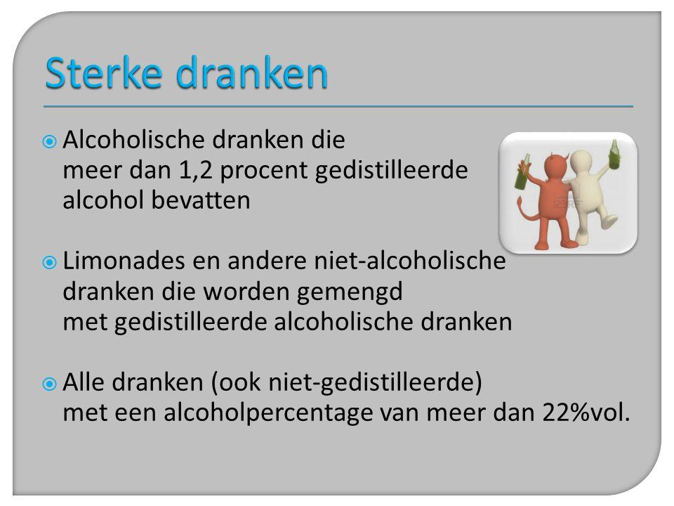 Sterke dranken Alcoholische dranken die meer dan 1,2 procent gedistilleerde alcohol bevatten.