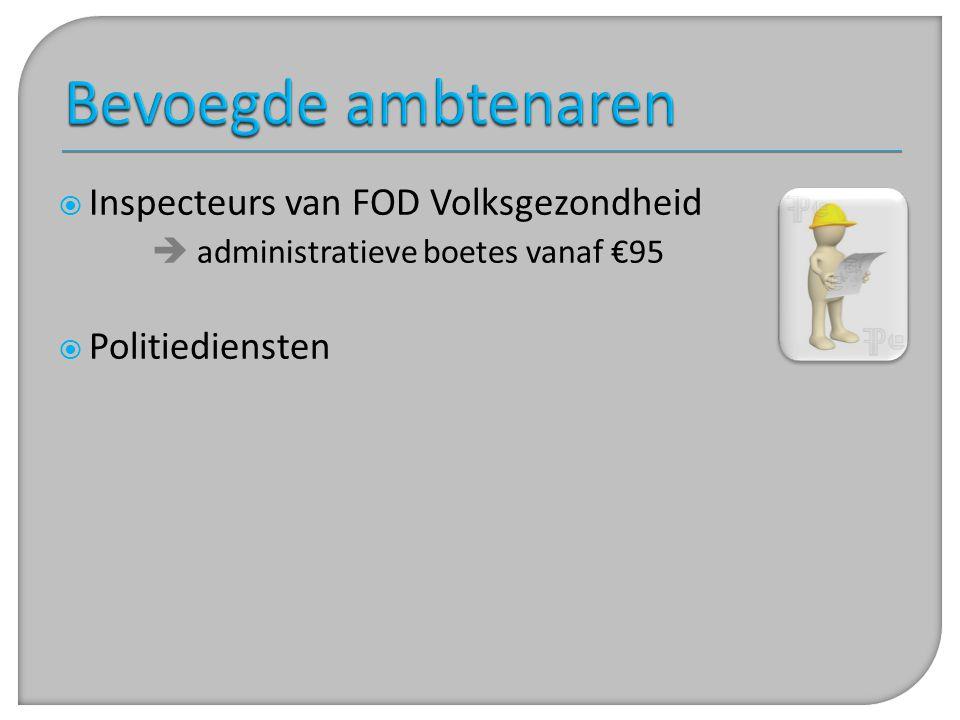Bevoegde ambtenaren Inspecteurs van FOD Volksgezondheid